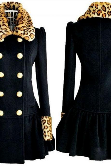 Luxury Design Double Breasted Leopard Print Winter Coat