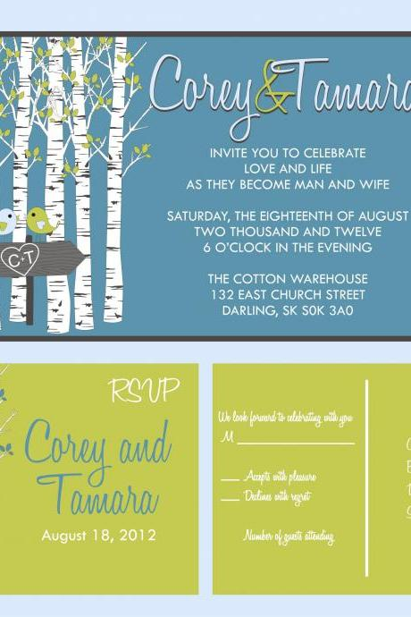 Budget Wedding Invitation Suite and matching RSVP set