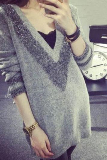 Sexy V-neck long-sleeved sweater FG12104JK