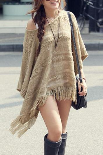 Cute Fringed Three Quarter Sleeve Khaki Pullover