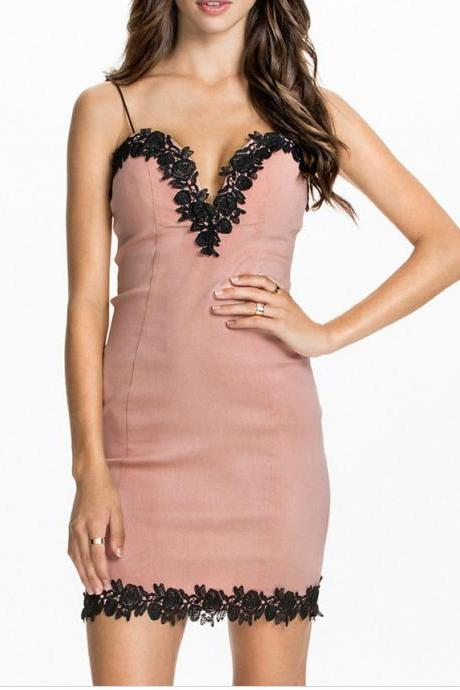 Pink Spaghetti Straps Bodycon Dress Featuring Lace Trimmed Sweetheart Neckline and Hem