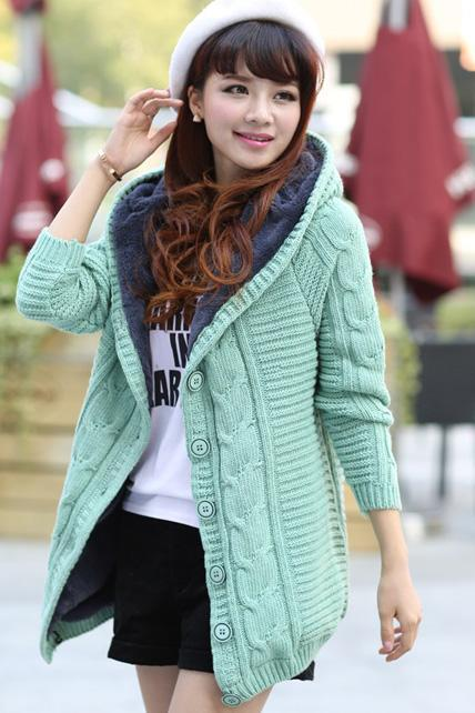 Adorable Knitted Woolen Hooded Sweater Coat
