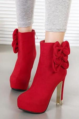 Elegant Red Bow Knot Design Fashion Boots