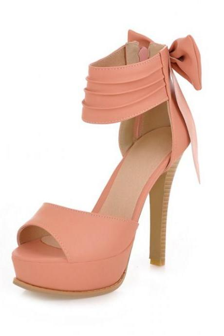 Pink Peep Toe Bow Embellished High Heel Sandals