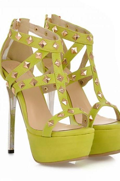 Rivet Embellished High Heel Fashion Sandals In Green