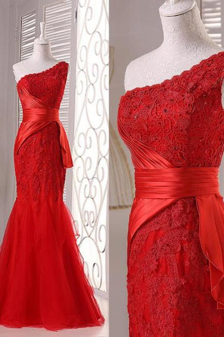 ED114 High Quality Sexy One Shoulder Evening Dress Appliques Sheath Evening Dress