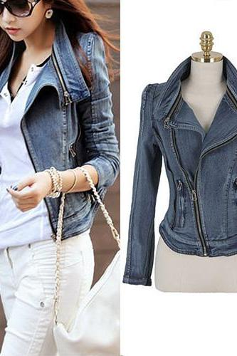 Fashion Long Sleeve Oblique Zipper Slim Fit Denim Coat