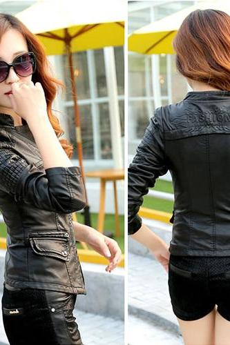 Fashion Lapel Contrast Color Slim Fit PU Leather Coat
