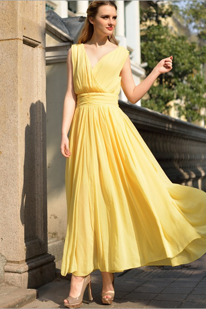 2015 big European yards long chiffon dress Bohemian dress--yellow