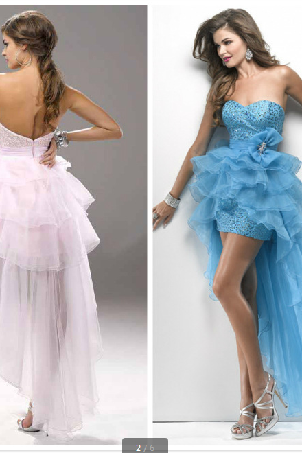 women sexy front short long prom/evening dress elegant gowns