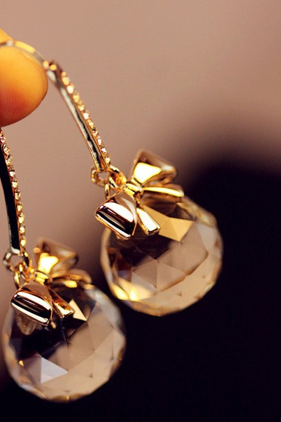 Bow Trimmed Crystal Ball Drop Earrings
