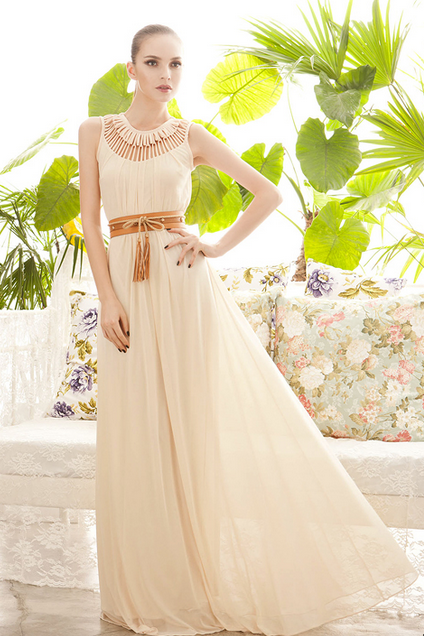 Hollow -level Flower Style Neck Dress