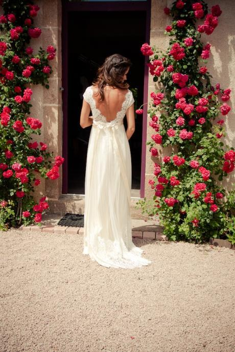 Gorgeous Custom Made Chiffon Open Back Wedding Dresses with Lace, Handmade Lace Wedding Dresses, Gorgeous Wedding Dresses