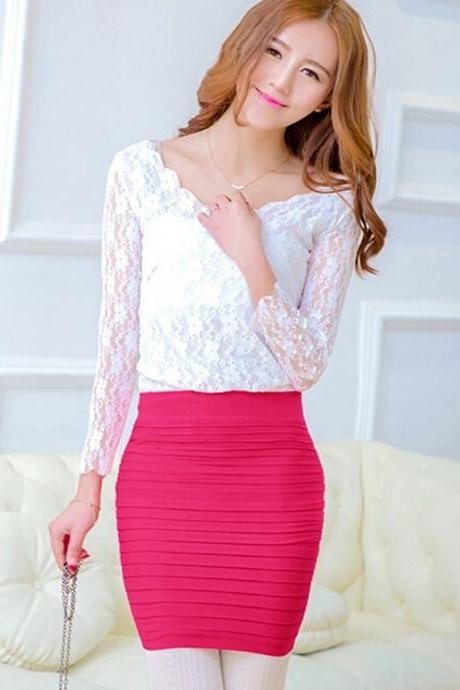 Sexy Mini Skirt Slim Seamless Stretch Tight Short Fitted Candy Dress Skirt