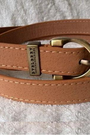 Leather fashion round brown buckle woman belt