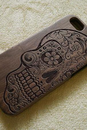 Skull Engraved iPhone 6S Plus 6S 6 6 Plus 5 5S 5C 4 4S wood case , Samsung S6 S5 S4 S3 Note 5 4 3 Wood Cover ,Gifts for Boyfriend ,Gifts,Personalized,Wooden Case