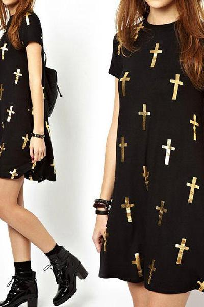 New Womens Chic Cross Print Ablove Knee Casual Dress Short Sleeves Black