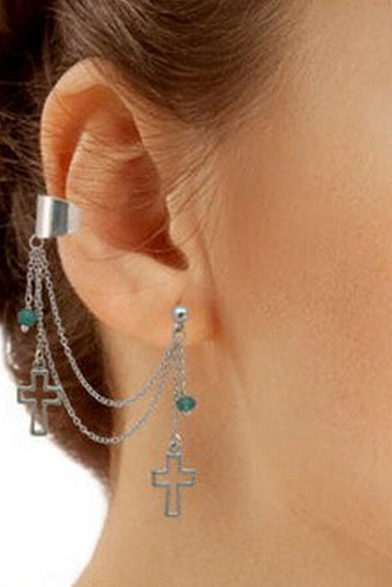 Cutout Cross Chained Single Ear Cuff