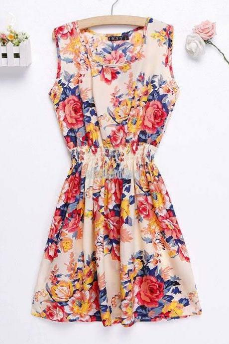 Sexy Women Sleeveless Chiffon Evening Cocktail Party Floral Short Dress