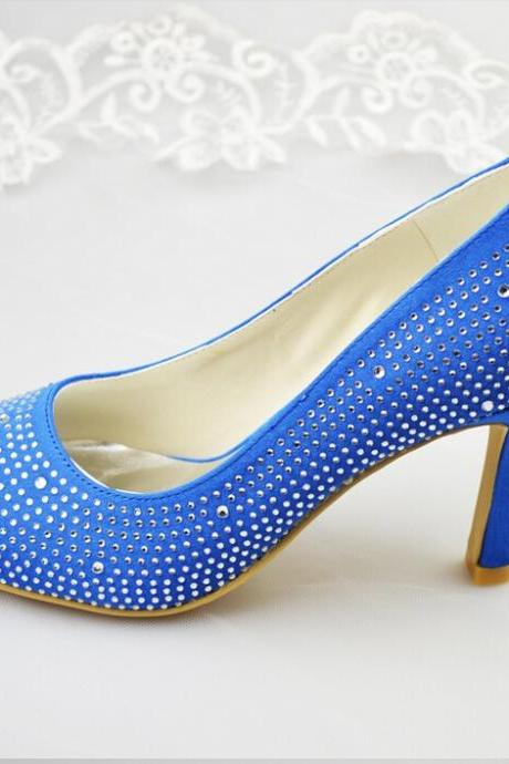 On Sale Royal Blue Peep Toe Thin Heels Satin Prom Shoes Woman High Heel Shoes,wedding shoes