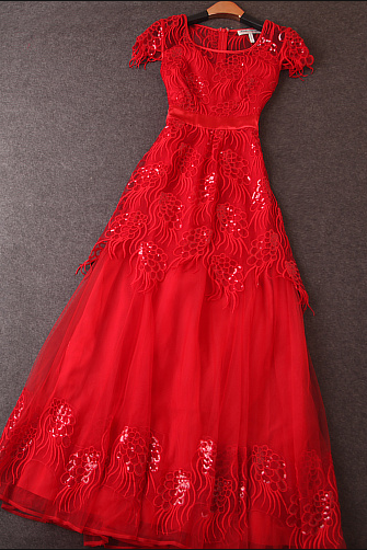 Heavy embroidered gauze dress Slim sequined dress
