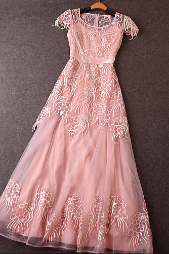 Heavy embroidered gauze dress Slim sequined dress ---pink