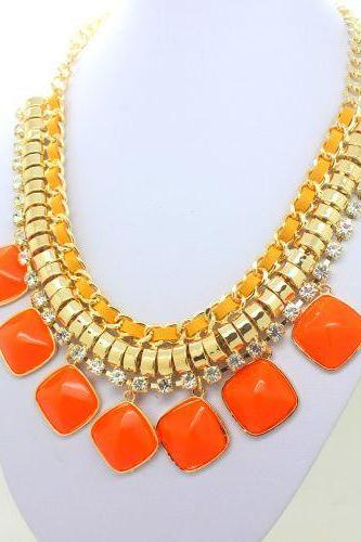 Evening chain orange statement resin trendy woman necklace