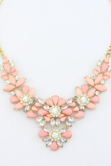 Dress rhinestones pink prom night special woman necklace