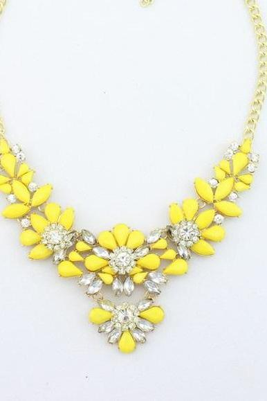 Dress rhinestones yellow prom night special woman necklace