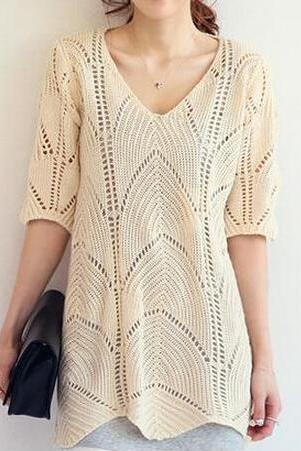 Hollow Loose V-Neck Sweater