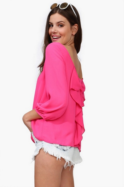 Europe and the female shirt Chiffon loose backless chiffon blouse-Red