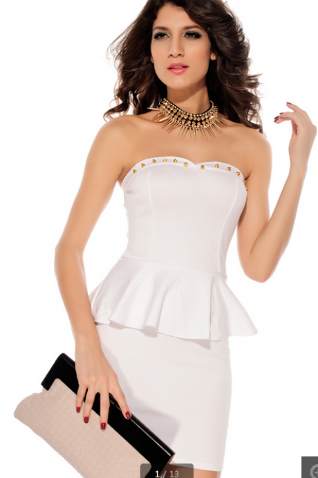 Rivets embellished Bustline Peplum Dress