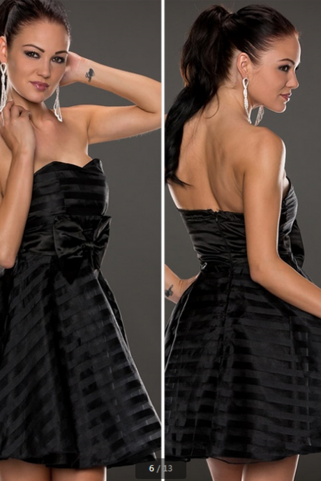 Ribbon-Mesh Strips Strapless Skater Dress vestido vintage--black