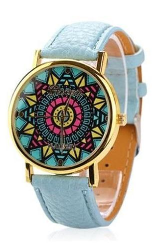 Vintage retro hippie party Woodstock party blue girl watch