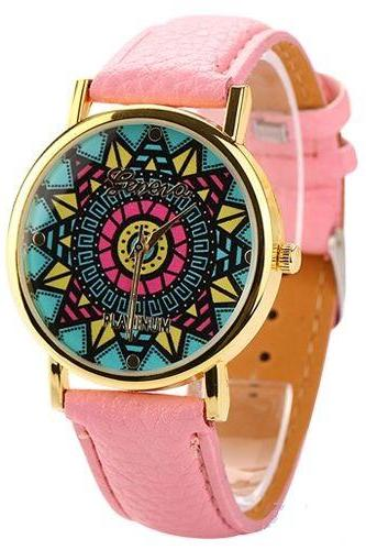 Vintage retro hippie party Woodstock party pink girl watch