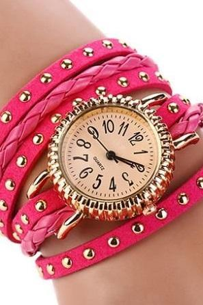 Wrap rivet rose Pu leather band casual fancy teen unisex watch
