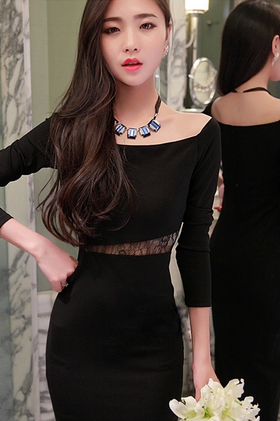 PARTY new winter dress sexy package hip nightclub dress lace dress Perspective