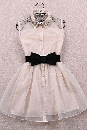 Adorable Front Bow Design Beaded Chiffon Dress in Black and White