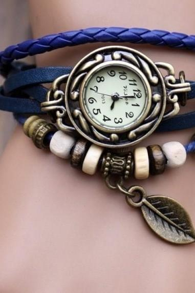 Handmade Vintage Woman Girl Lady Quartz Wrist Watch Style Leather Band Watches Blue