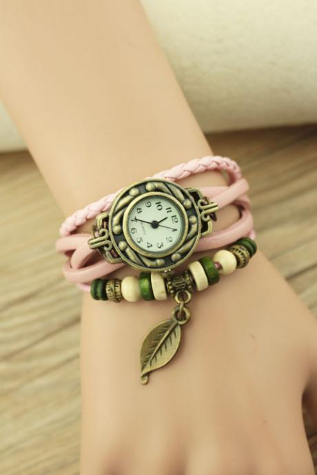 Handmade Vintage Woman Girl Lady Quartz Wrist Watch Style Leather Band Watches Pink