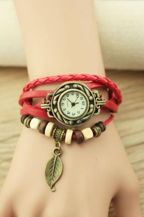 Handmade Vintage Woman Girl Lady Quartz Wrist Watch Style Leather Band Watches Red