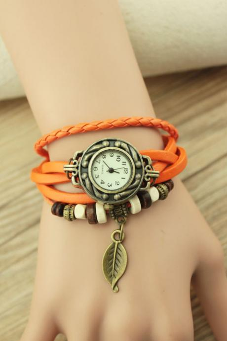 Handmade Vintage Woman Girl Lady Quartz Wrist Watch Style Leather Band Watches Orange