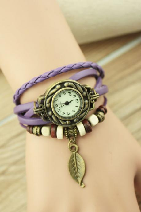 Handmade Vintage Woman Girl Lady Quartz Wrist Watch Style Leather Band Watches Purple