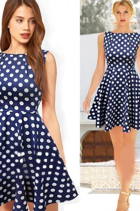 Women's Vintage Polka Dot Boat Neck Sleeveless Cocktail Party Flare Pleated Dress
