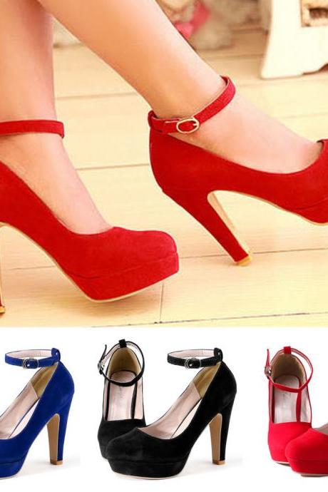 Sexy Women's Ankle Strap High Heel Platform Stilettos Suede Womens Pump Shoes