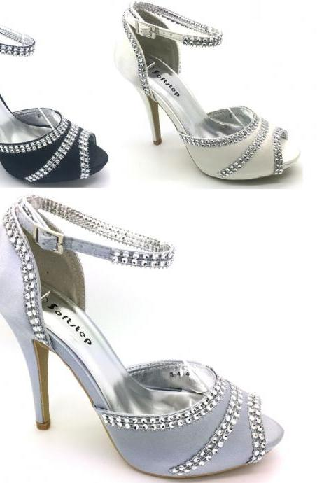 LADIES WOMENS WEDDING EVENING PROM HIGH HEEL PLATFORM BRIDAL SANDALS SHOES