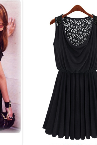 Black Dress With Floral Lace Back