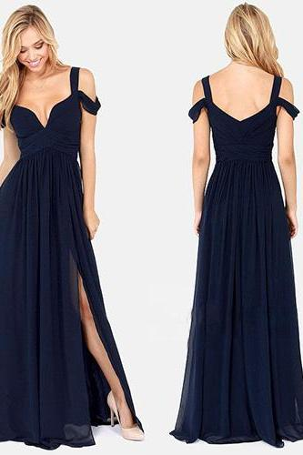 Sexy Deep V-Neck Slit Hem Floor-Length Chiffon Dress