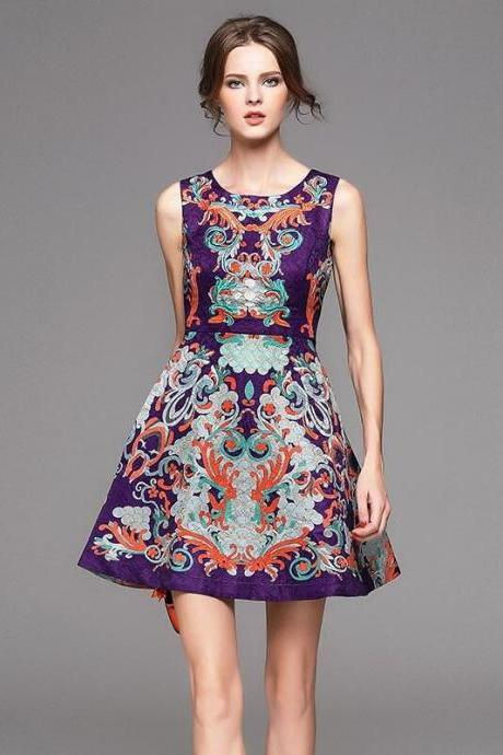 Delicate embroidered printed retro sleeveless dresses