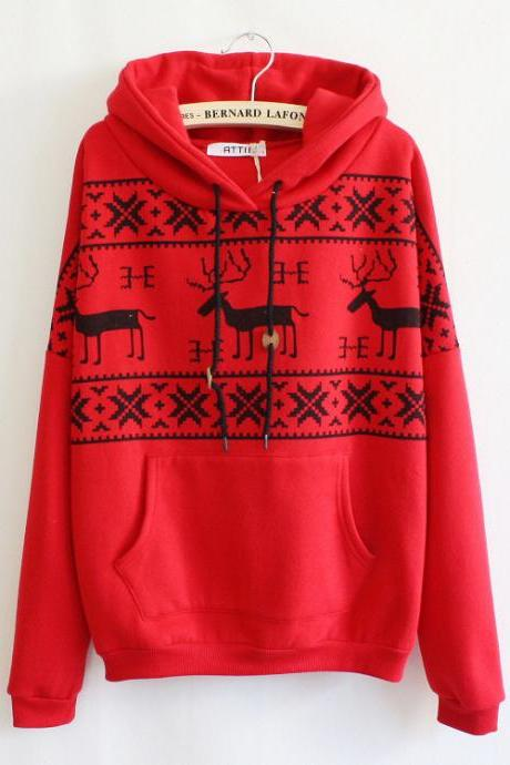 Red Deer Hooded Sweatershirt For Women